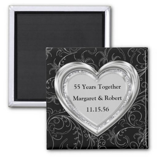 Silver and Diamonds Anniversary Refrigerator Magnets