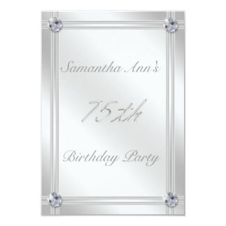 Silver and Diamonds Look 75th Birthday Party Card
