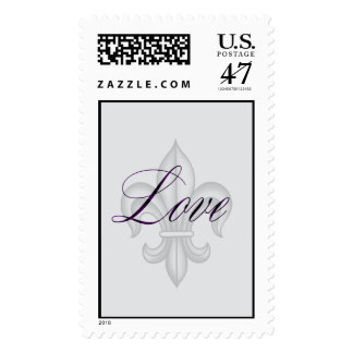 Silver and eggplant Fleur de lis with love Postage