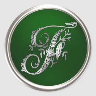 Silver and Emerald Monogram F Envelope Seal