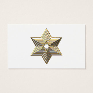 "Silver and Gold ""3-D"" stacked Star of David Business Card"