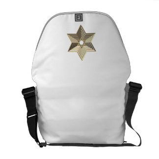 """Silver and Gold """"3-D"""" stacked Star of David Courier Bag"""