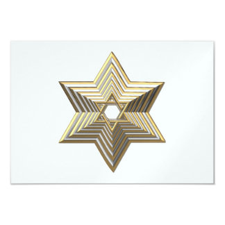"""Silver and Gold """"3-D"""" stacked Star of David 3.5"""" X 5"""" Invitation Card"""