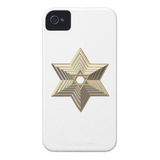 "Silver and Gold ""3-D"" stacked Star of David iPhone 4 Cover"