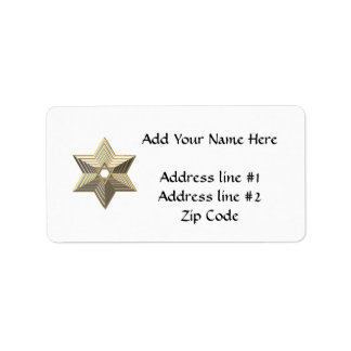 "Silver and Gold ""3-D"" stacked Star of David Label"