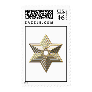 Silver and Gold 3-D stacked Star of David Postage Stamps