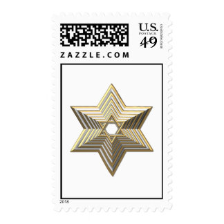 """Silver and Gold """"3-D"""" stacked Star of David Postage"""