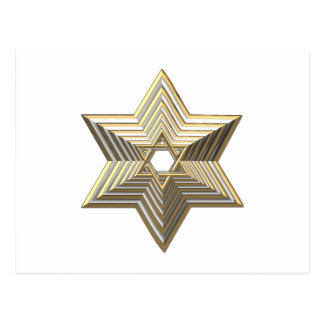 """Silver and Gold """"3-D"""" stacked Star of David Postcard"""