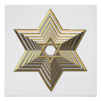"""Silver and Gold """"3-D"""" stacked Star of David Print"""