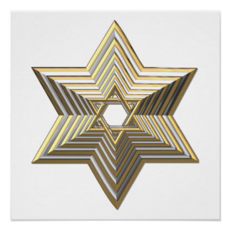 "Silver and Gold ""3-D"" stacked Star of David Poster"