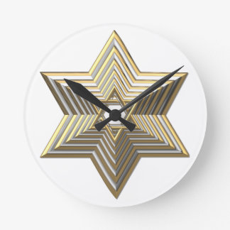 """Silver and Gold """"3-D"""" stacked Star of David Round Clock"""