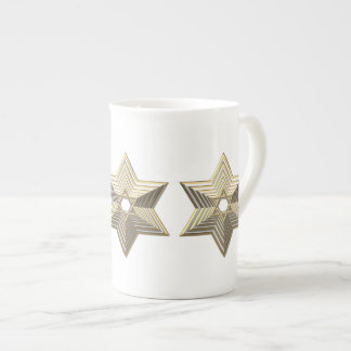 """Silver and Gold """"3-D"""" stacked Star of David Tea Cup"""