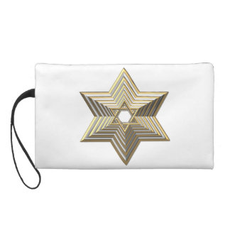 """Silver and Gold """"3-D"""" stacked Star of David Wristlet"""