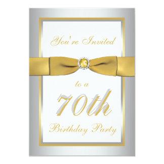 Silver and Gold 70th Birthday Invitation