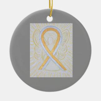 Silver and Gold Awareness Ribbon Angel Ornaments