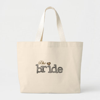 Silver and Gold Bride Large Tote Bag