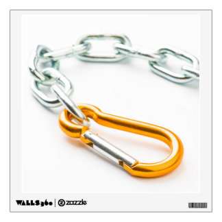 Silver and gold chain clip with links wall decal