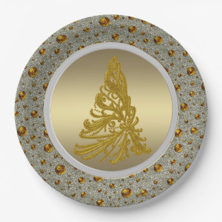 Silver and Gold Christmas Tree 9 Inch Paper Plate