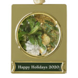 Silver and Gold Christmas Tree I Holiday Gold Plated Banner Ornament