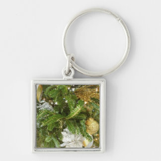 Silver and Gold Christmas Tree I Holiday Keychain