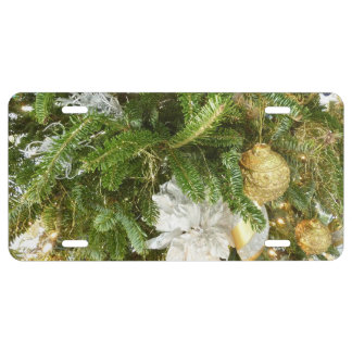Silver and Gold Christmas Tree I Holiday License Plate