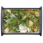 Silver and Gold Christmas Tree I Holiday Serving Tray