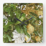 Silver and Gold Christmas Tree I Square Wall Clock