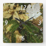 Silver and Gold Christmas Tree II Holiday Square Wall Clock