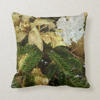 Silver and Gold Christmas Tree II Holiday Throw Pillow