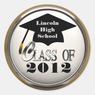Silver And Gold Class Of 2012 Graduation Stickers