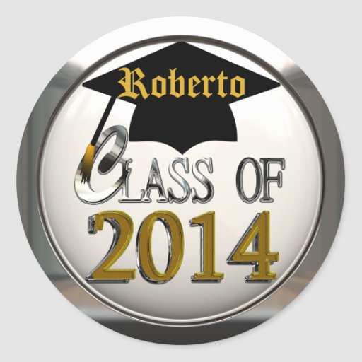 Silver And Gold Class Of 2014 Graduation Stickers