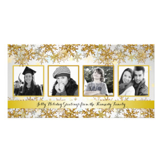 Silver and Gold Family Photo Christmas Card Photo Card