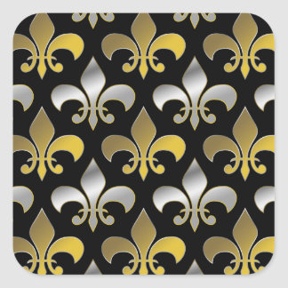 Silver and Gold Fluers-de-lis on Black Square Sticker