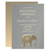 Silver and Gold Foil Elephant Monogram Wedding Invitation