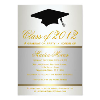 Silver and Gold Graduation Invitation