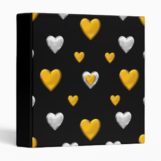 Silver and Gold Hearts Binder