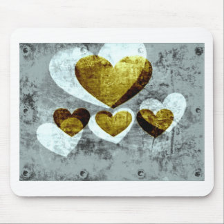 Silver and Gold Hearts Mouse Pad