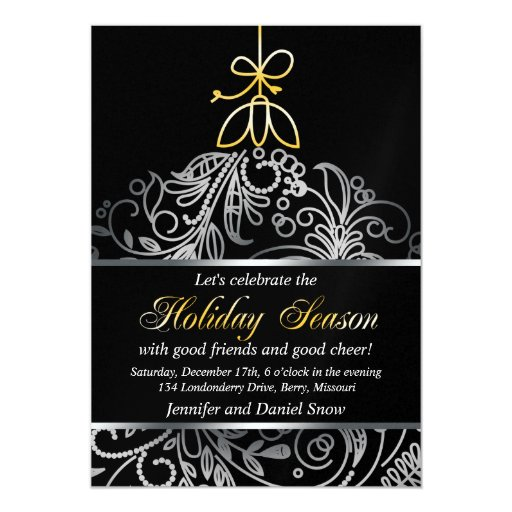 Silver And Gold Holiday Party Custom Invitations