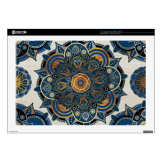 """Silver and gold mandala 17"""" laptop decal"""