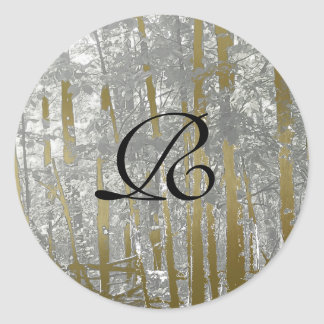 Silver and Gold Metallic Trees envelope seals Classic Round Sticker