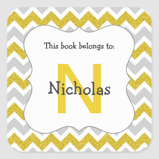 Silver and Gold monogram book plate stickers