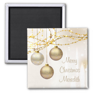 Silver and Gold Ornate Christmas Balls 2 Inch Square Magnet