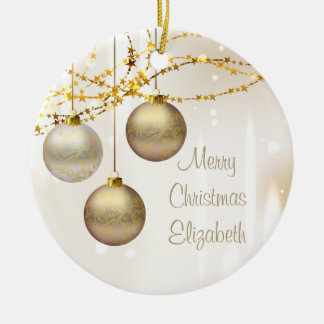 Silver and Gold Ornate Christmas Balls Double-Sided Ceramic Round Christmas Ornament