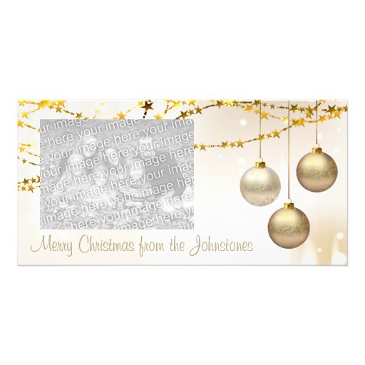 Silver and Gold Ornate Christmas Balls Personalized Photo Card