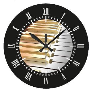 Silver and Gold Piano Wall Clocks
