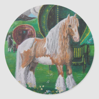 Silver and gold romantic horse and van classic round sticker