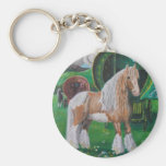 Silver and gold romantic horse and van key chain