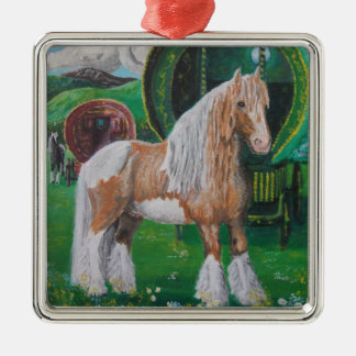 Silver and gold romantic horse and van square metal christmas ornament