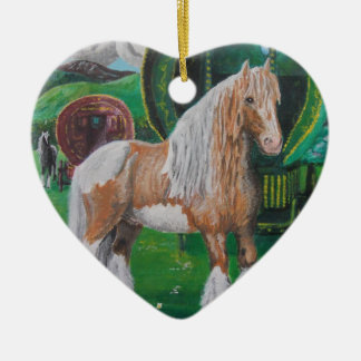Silver and gold romantic horse and van Double-Sided heart ceramic christmas ornament