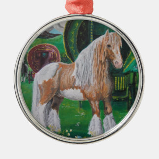 Silver and gold romantic horse and van round metal christmas ornament
